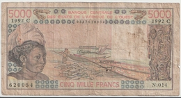 WEST AFRICAN STATES P. 308Cq 5000 F 1992 F - Burkina Faso