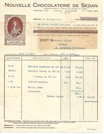 """Facture 1934 / 08 SEDAN / Nouvelle Chocolaterie De Sedan / Blason """"Henry La Tour D'Auvergne"""" - 1900 – 1949"""