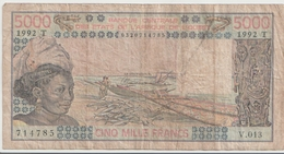 WEST AFRICAN STATES P. 808Tl 5000 F 1992 Poor - Togo