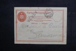 """SUISSE - Entier Postal Pour Lausanne En 1870, Oblitération Ambulant """" Genève - Sion  """" + Griffe VEVEY - L 38348 - Stamped Stationery"""