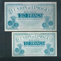 2 Billets Limoges / Bon Pour 10f Et 20f En Marchandises - Bons & Nécessité