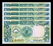Sudan Lot Bundle 5 Banknotes 1 Pound 1987  Pick 39 SC UNC - Sudan
