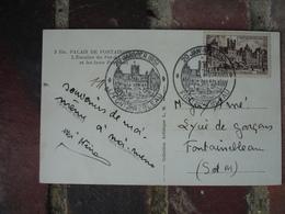 1951 Fontainebleau C M Carte Maximum Circulee - Cartes-Maximum