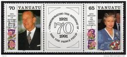 VANUATU N° 864 / 65 XX  65ème Anniver. De S.M. La Reine Elisabeth II La Paire Avec Vignette Centrale Sans Charnière TB - Vanuatu (1980-...)