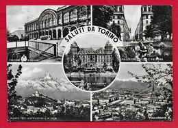 CARTOLINA VG ITALIA - Saluti Da TORINO - Vedutine Multivue - 10 X 15 - 1958 TASSATA - Saluti Da.../ Gruss Aus...