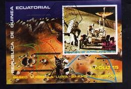 GUINEA EQUATORIAL GUINEE ECUATORIAL EQUATORIALE 1971 APOLLO 15 SPACE SPAZIO APOLO BLOCK SHEET BLOCCO BLOC USED OBLITERE' - Guinea Equatoriale