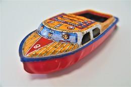 Vintage TIN TOY BOAT : Maker AT - SEA QUEEN POP POP BOAT - 13.5cm - JAPAN - 1960 - Friction - Collectors Et Insolites - Toutes Marques