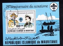 MAURITANIA MAURITANIE 1982 SCOUT SCOUTISME BLOCK SHEET BLOCCO FOGLIETTO BLOC FEUILLET USED USATO OBLITERE' - Mauritania (1960-...)