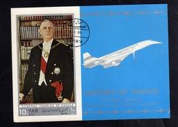 YEMEN YAR 1969 CHERLES DE GAULLE HISTORY OF FRANCE CONCORDE BLOCK SHEET BLOC FEUILLET BLOCCO USED USATO OBLITERE' - Yemen