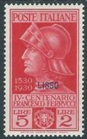 1930 EGEO LIPSO FERRUCCI 5 LIRE MH * - RA25 - Egeo (Lipso)