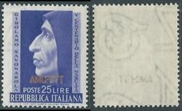 1952 TRIESTE A SAVONAROLA FILIGRANA LETTERA MNH ** - RA22-7 - Ungebraucht