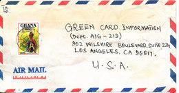 Ghana Air Mail Cover Sent To USA Single Franked - Ghana (1957-...)