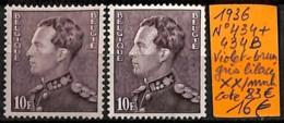 D - [831547]TB//**/Mnh-c:83e-Belgique 1936 - N° 434+434B, Violet-Brun Gris Lilacé, Familles Royales, Rois - 1936-51 Poortman