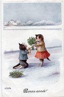 C. ÖHLER - Couple De Chats A Comportement Humain Dans Paysage De Neige    (115377) - Andere Illustrators