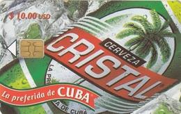 T247 - Cuba, Phonecard, ETECSA, 2002, Cristal Cerveza, 10.00 USD, Used, 2 Scans - Kuba