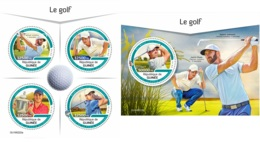 Guinee 2019 Golf Players Round Shape MS+S/S GU190222 - Famous People