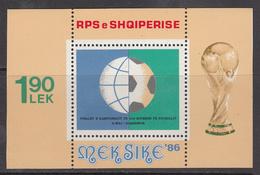 1986 Albania Albanie World Cup Football Mexico  Souvenir Sheet  MNH - Albanië