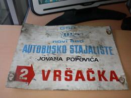 Old Aluminum Board, Bus Station Stop GSP Novi Sad Autobusko Stajaliste Jovana Popovica Vrsacka - Number Plates