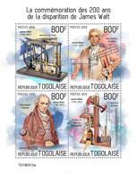 Togo 2019 James Watt 200th Aniv Steam Engine Inventor Trains Railway S/S TG190313 - Famous People