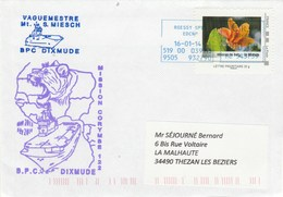 BPC DIXMUDE Mission Corymbe 122 Roissy 16/1/2014 Avec MonTimbraMoi Hibiscus De Bocu La Réunion - Poststempel (Briefe)