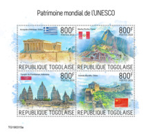 Togo 2019 Unesco World Heritage Peru China Indonesia Greece S/S TG190315a - Famous People