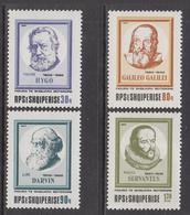 1986 Albania Albanie Famous Men Science Darwin Gallileo Literature Hugo Cervantes Complete Set Of 4  MNH - Albania