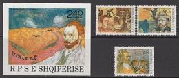 1990 Albania Albanie Van Gogh Art Painting   Complete Set Of 3 + Souvenir Sheet  MNH - Albanië