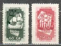 POLAND MNH ** 944-945 ANNIVERSAIRE EMIGRATION AUX ETATS UNIS. BATEAU. CARAVELLE - 1944-.... République