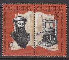 1997 Albania Albanie Gutenberg Printing Press Literature  Complete Pair  MNH - Albanië