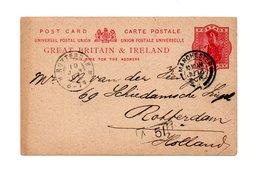 ENGELAND POSTCARD 1901 SHIPPED TO ROTTERDAM - 1840-1901 (Victoria)