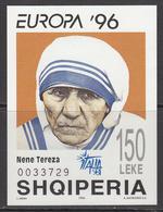 1998 Albania Albanie Mother Theresa ITALIA 98 SHOW SURCHARGE Souvenir Sheet  MNH - Albania