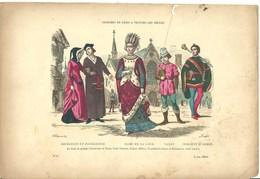Gravure Ancienne Paris XVII ème Costume Dame Cour Noblesse Bourgeois Bourgeoisie Valet Sergent D'armes Militaire Mode - Collections