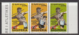 1999 Albania Albanie National Athletic Championships Complete Strip Of 3 MNH - Albania