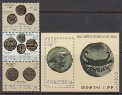 1999 Albania Albanie Coins Monnaie  Complete Strip Of 3 + Souvenir Sheet MNH - Albanie