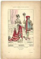 Gravure Ancienne Paris XV Et XVI ème Costume Noble Dame Messe Noblesse Page Valet Mode Catholicisme Religion - Collections