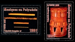POLYNESIE 2005 - Yv. 752 Et 753 **   Faciale= 2,18 EUR - Musique : Flute Nasale Vivos Et Tambour Pahu  ..Réf.POL24205 - Neufs