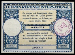ALGERIE Lo16n 40FRANCSInternational Reply Coupon Reponse Antwortschein IAS IRC W/o Postmark But Redeemed In USA 1956 - Covers & Documents