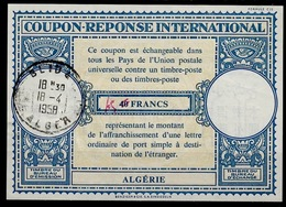 ALGERIE Lo16n ms. 45 / 40FRANCSInternational Reply Coupon Reponse Antwortschein IAS IRC O BLIDA 18.4.58 - Covers & Documents