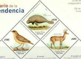 COSTA RICA, 2018, MNH, TOWARDS THE BICENTENARY OF INDEPENDENCE, BIRDS, MANATEES, MARINE LIFE, DEER, 3v Ex. SHEETLET - Other
