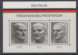 Germany 1975 Deutsche Friedensnobelpreisträger 3v From M/s ** Mnh (44107) - [7] West-Duitsland