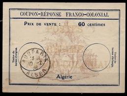 ALGERIE Fc360 Centimes Coupon-Reponse Franco-Colonial Antwortschein Replyo BOUFANIK 10.2.36Bienen / Bees / Abeille - Sonstige