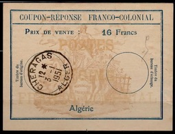 ALGERIE Fc6Coupon-Reponse Franco-Colonial Antwortschein Reply16 Francs o CHERAGAS 3.1.51  Bienen / Bees / Abeilles - Covers & Documents