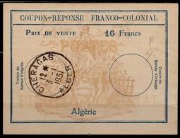 ALGERIE Fc6Coupon-Reponse Franco-Colonial Antwortschein Reply16 Francs o CHERAGAS 3.1.51  Bienen / Bees / Abeilles - Algerien (1924-1962)