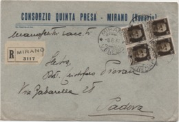 Imperiale Cent. 30 Quartina Su Busta Consorzio Quinta Presa Con Annullo Mirano (Venezia) 08.06.1937 - Storia Postale