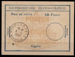 ALGERIE Fc6 Coupon-Reponse Franco-Colonial Antwortschein Reply16 Francs o BIRMANDREIS 6.1.51 Bienen / Bees / Abeilles - Algerien (1924-1962)