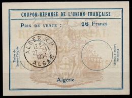 ALGERIE Uf7Coupon-Reponse Franco-Colonial Antwortschein Reply16 Francs o ALGER 27.11.54 ( Bienen / Bees / Abeilles ) - Covers & Documents