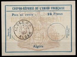 ALGERIE Uf7Coupon-Reponse Franco-Colonial Antwortschein Reply16 Francs o ALGER 27.11.54 ( Bienen / Bees / Abeilles ) - Algerien (1924-1962)