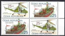 2013 Czech - Old Transport I - Steam Pecko Tugboat /Helicopter Aero HC2 Tet Beche Of 2 Sets- PaperMNH** MI 756/757 TB - Czech Republic