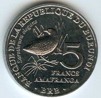Burundi 5 Francs 2014 Oiseau Sarothrura Elegans UNC KM 26 - Burundi