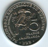 Burundi 5 Francs 2014 Oiseau Bycanistes Bucinator UNC KM 28 - Burundi